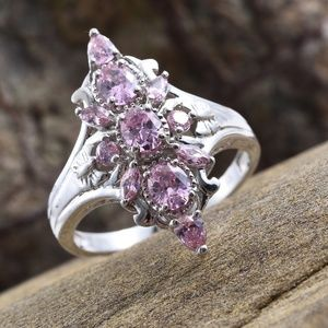 Simulated Pink Sapphire Platinum Bond Brass Ring